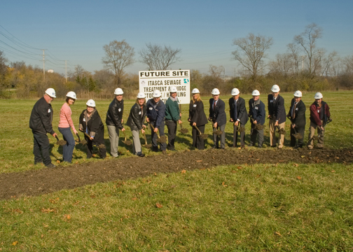 The Itasca Public Works Department employees breaking ground
