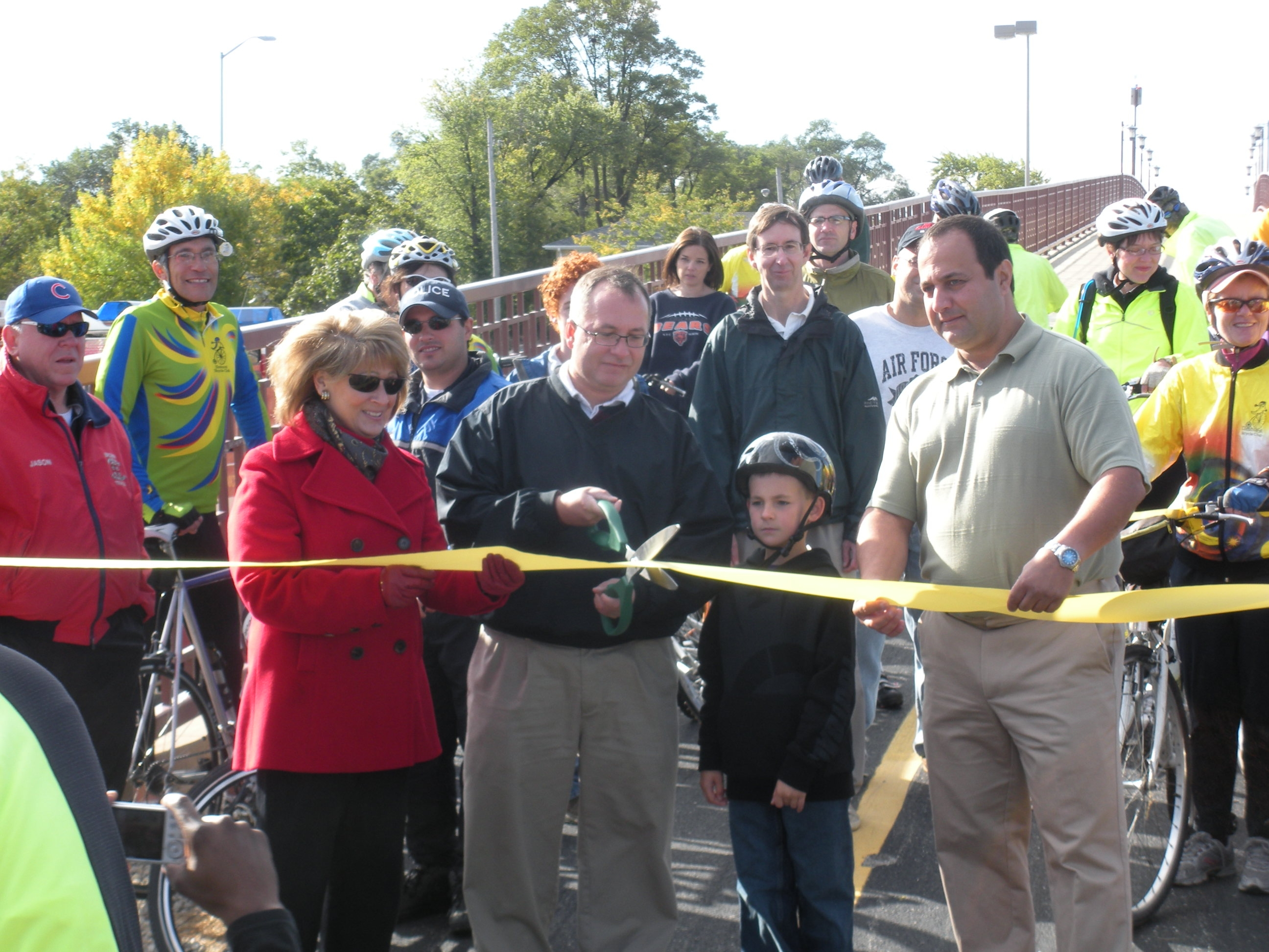 Citizens gather for the bikeway opening ceremony