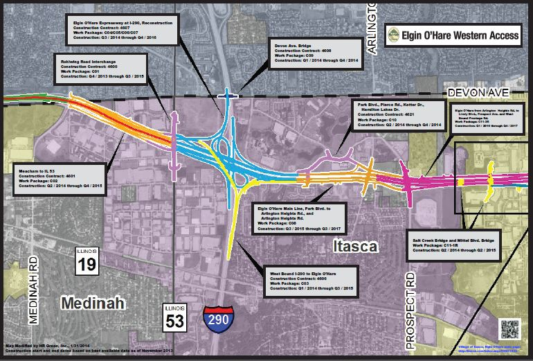 A map and timeline of the Eglin-O' Hare Western access project